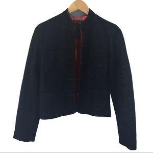 Lucky Brand black Asian inspired brocade jacket